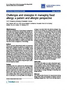 Challenges and strategies in managing food allergy: a ... - Springer Link