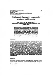Challenges in data quality assurance for electronic health records
