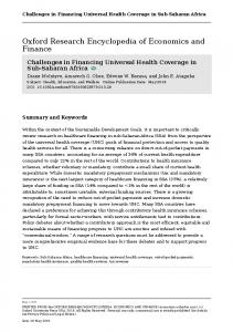 Challenges in Financing Universal Health Coverage ...