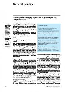 Challenges in managing dyspepsia in general practice.