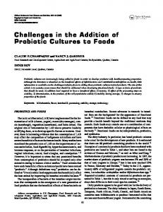 Challenges in the Addition of Probiotic Cultures to Foods