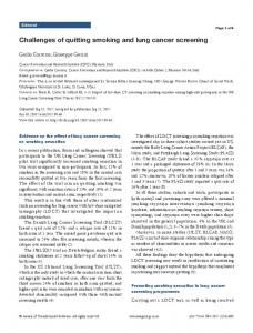 Challenges of quitting smoking and lung cancer screening - Annals of