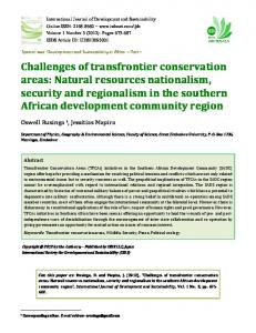 Challenges of transfrontier conservation areas ...