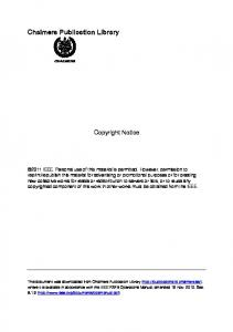 Chalmers Publication Library Copyright Notice