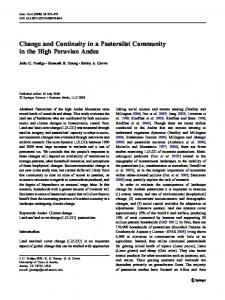 Change and Continuity in a Pastoralist Community in the High ...