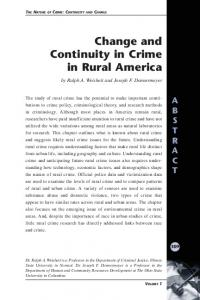 Change and Continuity in Crime in Rural America - National Criminal ...