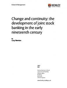 Change and continuity: the development of joint stock ...