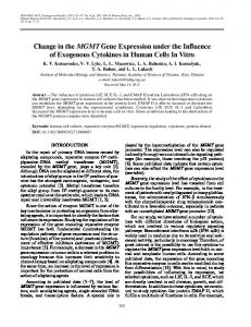 Change in the MGMT Gene Expression under the Influence of ...
