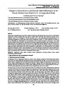 Changes in Achievement in and Attitude toward Mathematics of the ...
