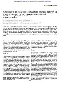 Changes in angiotensin-converting enzyme activity in ...
