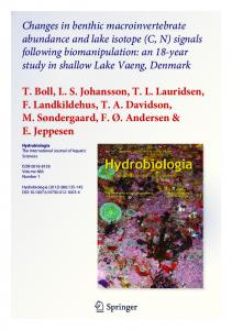 Changes in benthic macroinvertebrate abundance and lake isotope (C