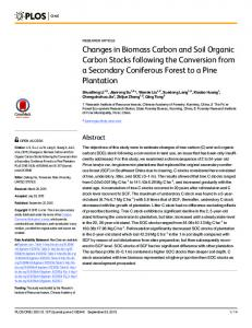 Changes in Biomass Carbon and Soil Organic Carbon Stocks ...