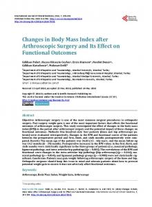 Changes in Body Mass Index after Arthroscopic