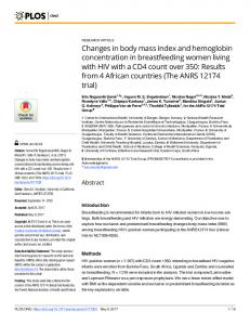 Changes in body mass index and hemoglobin concentration in