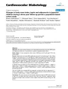 Changes in body mass index, leptin and adiponectin in Japanese ...