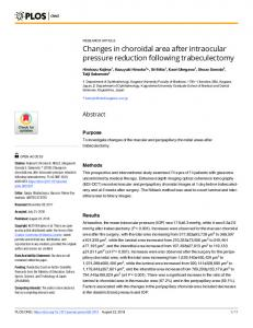 Changes in choroidal area after intraocular pressure reduction ... - PLOS