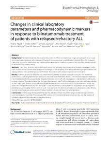 Changes in clinical laboratory parameters and pharmacodynamic ...