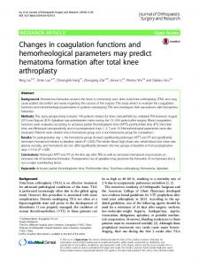 Changes in coagulation functions and hemorheological parameters ...