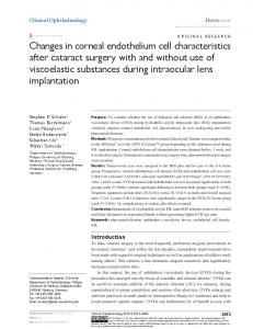 Changes in corneal endothelium cell characteristics after cataract ...