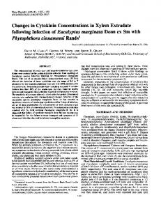 Changes in Cytokinin Concentrations in Xylem Extrudate following ...