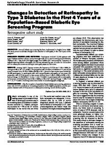 Changes in Detection of Retinopathy in Type 2 Diabetes ... - CiteSeerX