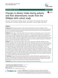 Changes in dietary intake during puberty and their determinants - Core