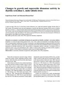 Changes in growth and superoxide dismutase activity in ... - SciELO
