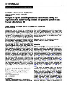 Changes in hepatic cytosolic glutathione S-transferase ... - Toxicology