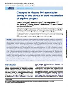 Changes in histone H4 acetylation during in vivo ...