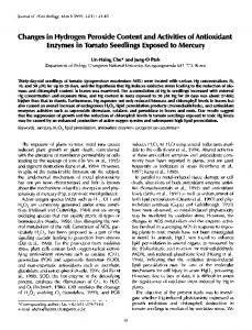 Changes in hydrogen peroxide content and activities of ... - Springer Link