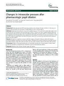 Changes in intraocular pressure after pharmacologic pupil dilation ...