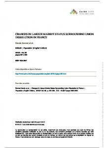 changes in labour market status surrounding union dissolution ... - Ined