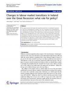Changes in labour market transitions in Ireland ... - Semantic Scholar
