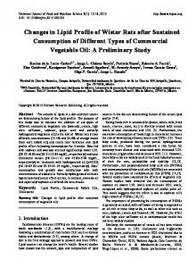 Changes in Lipid Profile of Wistar Rats after Sustained Consumption ...