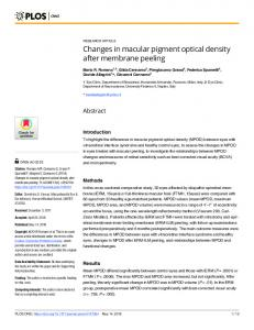 Changes in macular pigment optical density after membrane ... - PLOS