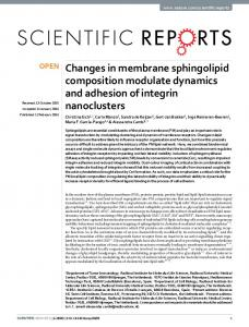 Changes in membrane sphingolipid composition modulate dynamics
