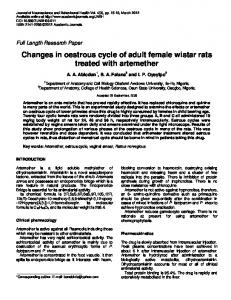 changes in oestrous cycle of adult female wistar ... - Academic Journals