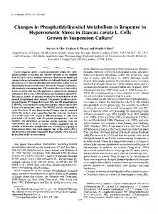 Changes in Phosphatidylinositol Metabolism in ... - Plant Physiology