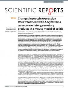 Changes in protein expression after treatment with Ancylostoma