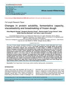 Changes in protein solubility, fermentative capacity ...