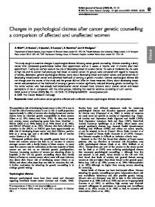 Changes in psychological distress after cancer ... - BioMedSearch