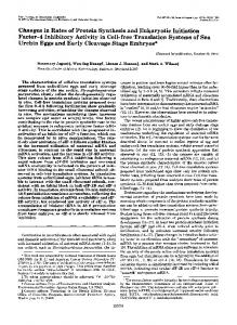 Changes in Rates of Protein Synthesis and Eukaryotic Initiation Factor ...