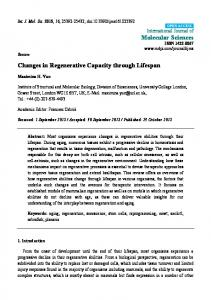 Changes in Regenerative Capacity through Lifespan - MDPI