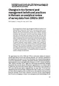 Changes in rice farmers' pest management beliefs and practices in ...