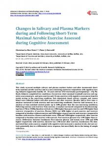Changes in Salivary and Plasma Markers during and Following Short ...