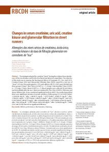 Changes in serum creatinine, uric acid, creatine kinase and ... - SciELO