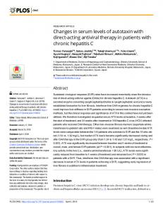 Changes in serum levels of autotaxin with direct-acting ... - PLOS