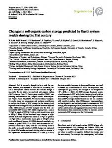 Changes in soil organic carbon storage predicted by Earth system ...