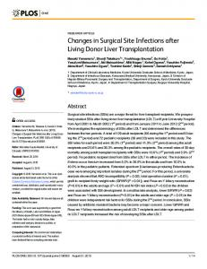 Changes in Surgical Site Infections after Living Donor Liver ...