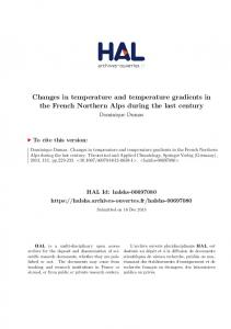 Changes in temperature and temperature gradients in ...